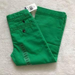 NWT Ralph Lauren toddler boys green twill pants